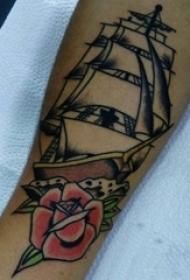 女生手臂上彩绘水彩素描创意霸气帆船纹身图片