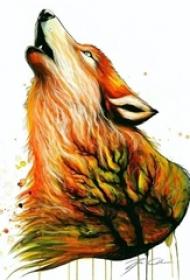 多款彩绘水彩素描霸气创意狼纹身手稿