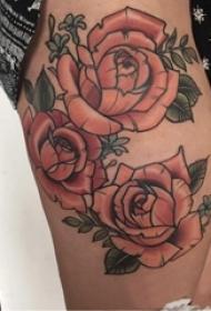 女生大腿上彩绘渐变简单线条植物叶子和花朵纹身图片