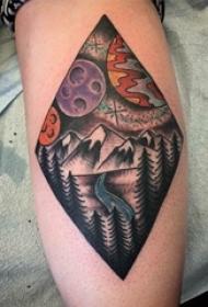 女生手臂上彩绘水彩素描创意文艺风景纹身图片