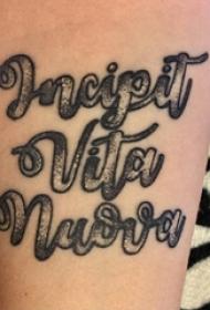女生手臂上黑灰素描创意文艺花体英文纹身图片