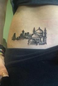 女生侧腰上黑色点刺几何简单线条建筑物纹身图片