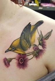 女生肩部彩绘抽象线条植物花朵和小鸟纹身图片