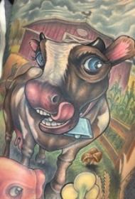 男生背部彩绘水彩素描创意大面积满背牛动物纹身图片