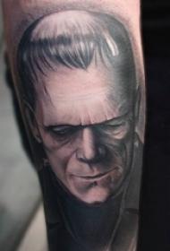 男生手臂上黑灰素描点刺技巧创意恐怖男生人物纹身图片