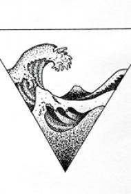黑灰素描几何元素创意三角形浪花纹身手稿