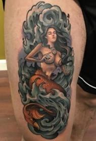 男生大腿上彩绘水彩素描创意文艺美人鱼纹身图片