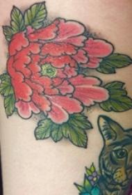 女生小腿上彩绘简单线条植物叶子和花朵纹身图片
