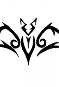 简单的黑色抽象线条创意小动物蝙蝠纹身手稿