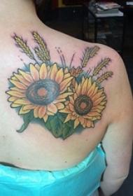 女生背部彩绘水彩素描精美向日葵纹身图片
