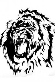 黑色线条素描创意霸气老虎有趣纹身手稿
