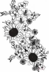黑色素描创意唯美精致创意向日葵纹身手稿