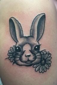 女生手臂上黑灰素描点刺技巧创意可爱兔子纹身图案