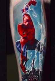 英勇正义的彩绘几何简单线条人物蜘蛛侠纹身图案