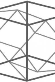 个性的黑色简单线条几何元素立体正方形纹身手稿
