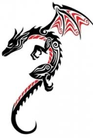 红黑素描描绘的创意龙图腾精美纹身手稿