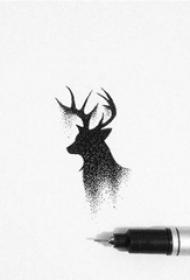 黑色素描点刺技巧文艺唯美鹿头纹身手稿