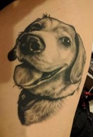 男生侧腰上黑灰点刺简单线条小动物狗纹身图片