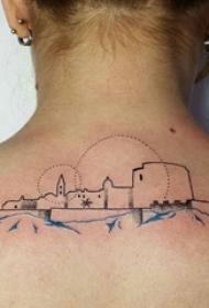 女生背部黑色线条素描创意文艺唯美城堡纹身图片
