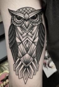 女生手臂上黑灰素描点刺技巧几何元素创意猫头鹰纹身图片