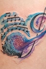 创意的彩绘渐变简单抽象线条指纹和音符纹身图片