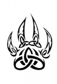 创意的黑色几何简单线条爪印纹身手稿