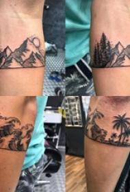 男生手臂上黑灰点刺抽象线条山水沙滩风景纹身图片