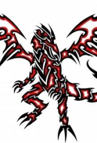 红黑线条素描创意霸气龙图腾纹身图片