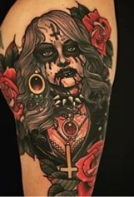 多款彩绘水彩素描的创意恐怖抽象人物纹身图案