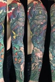 男生手臂上彩绘几何简单抽象线条创意花臂纹身图片