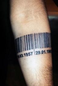 个性的黑色数字和简单线条条码纹身图案