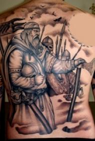 男生背部黑灰素描点刺技巧创意武士纹身图片