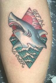 男生手臂上彩绘几何抽象线条小动物鲨鱼纹身图片