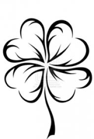 黑色线条文艺小清新唯美四叶草纹身手稿
