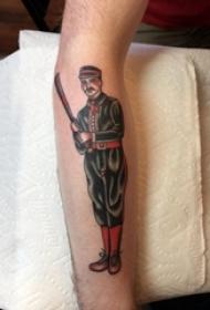 男生手臂上彩绘抽象线条长刀和人物肖像纹身图片