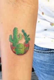 女生手臂上彩绘水彩素描创意文艺仙人掌纹身图片