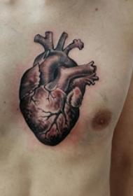 男生胸口上黑灰素描擦黄奕3d心脏纹身图片