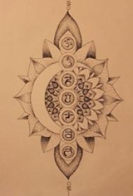 黑灰素描点刺技巧文艺唯美梵花宗教经典纹身手稿