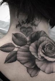 女生颈后黑灰点刺简单线条植物玫瑰纹身图片