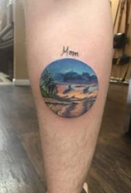 大海风景纹身男生小腿上彩色的大海风景纹身图片