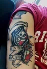 男生手臂上黑灰素描点刺技巧创意霸气骷髅纹身图片