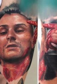 多款彩绘水彩素描创意霸气男生人物肖像纹身图案