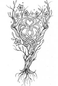 黑色线条素描文艺唯美心形藤蔓纹身手稿