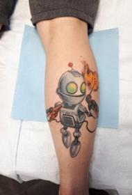 男生小腿上彩绘渐变简单线条火焰和机器人纹身图片