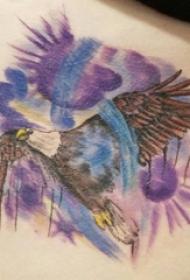 男生背部彩绘水彩素描创意霸气老鹰纹身图片