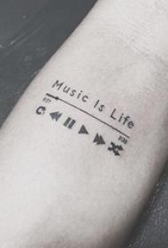 女生手臂上黑色线条文艺音符纹身图片