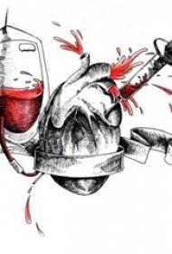 红黑素描创意经典输血心脏纹身手稿