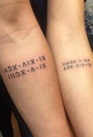 关于浓情蜜意的简单个性线条创意情侣纹身图案