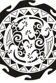 黑色线条素描几何元素创意太阳图腾