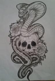 黑色线条素描霸气蛇经典骷髅纹身手稿
